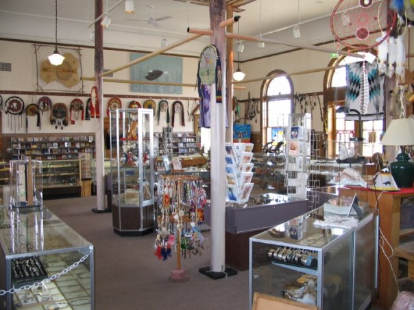 An inside view of the Five Nations Art store.